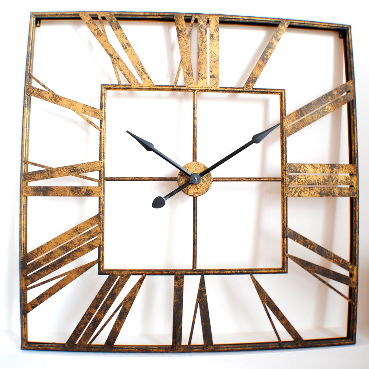 Large vintage roman gold square wall clock uk for the for Square wall clocks uk