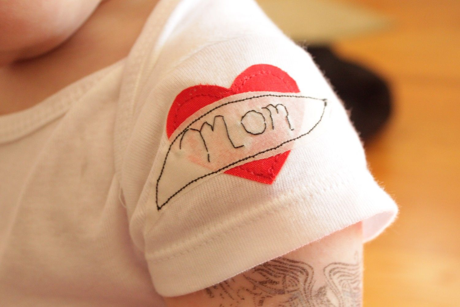 The 'Greaser' Bodysuit - Mom 'Tattoo' applique on sleeve