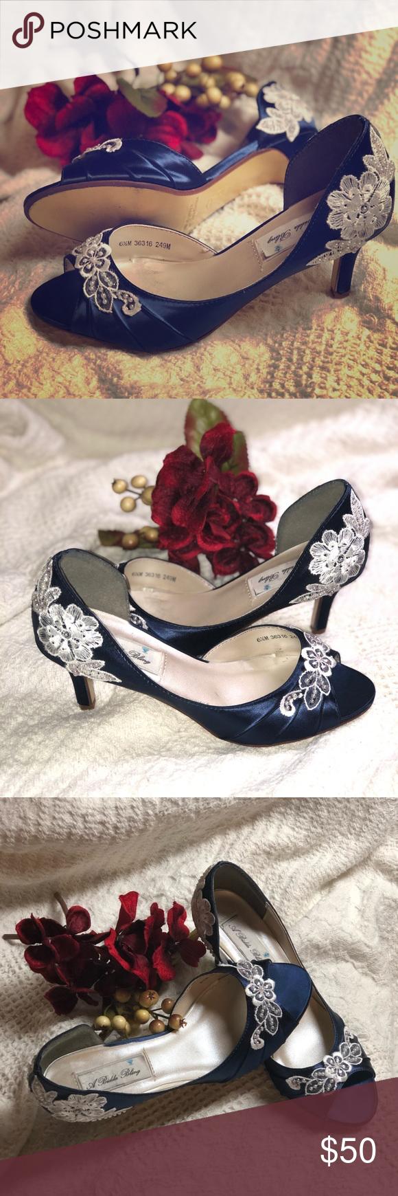 Vintage Satin Navy Blue Peep Toe Heels Shoes Heels Vintage Custom Shoes Heels Navy Blue Heels