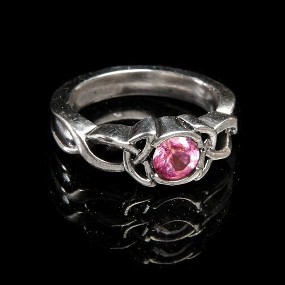Celtic Pink Sapphire Ring With Trinity Knot by CelticEternity