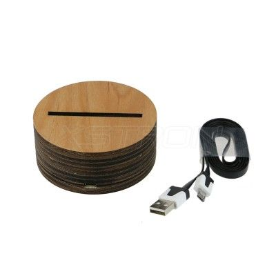 Wooden Led Base Warm Yellow Light Usb Charging For 3d Acrylic