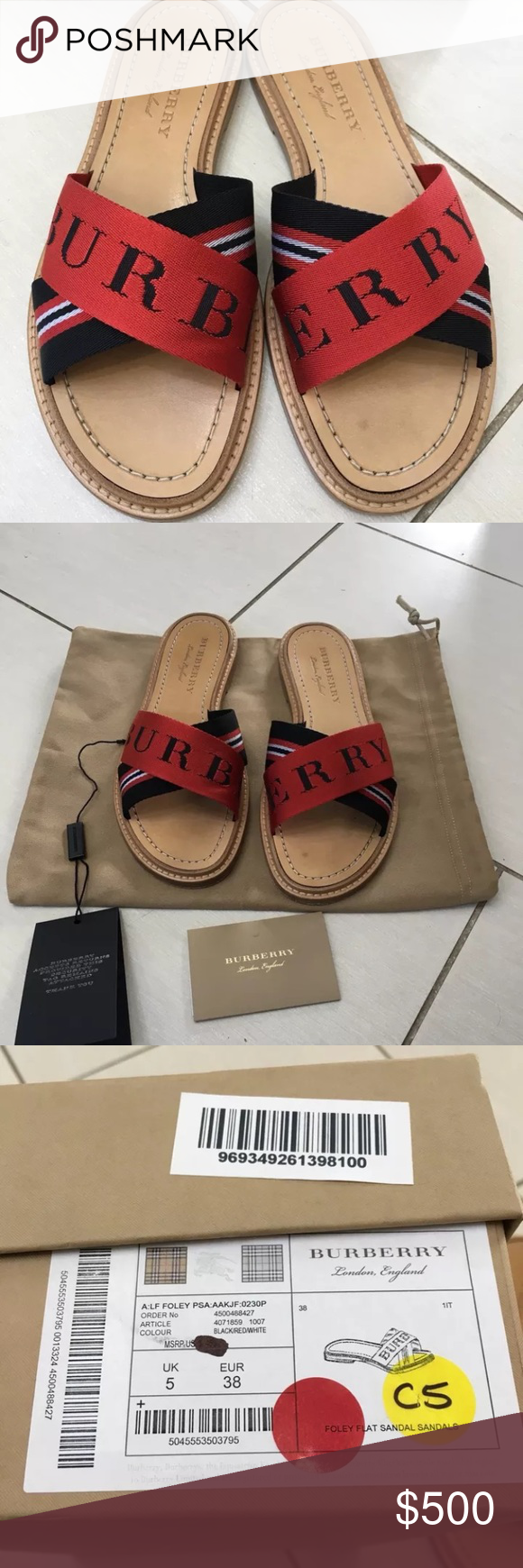 1bcb36113c3 BURBERRY foley nylon leather sandals slides 38 8 Authentic and worn one day  to a friends