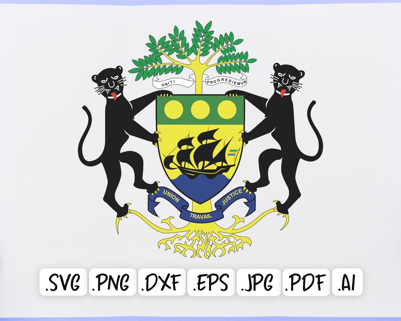 Gabon National Emblem Svg Design Gabon Coat Of Arms Png Etsy In 2020 Svg Design Coat Of Arms Emblems