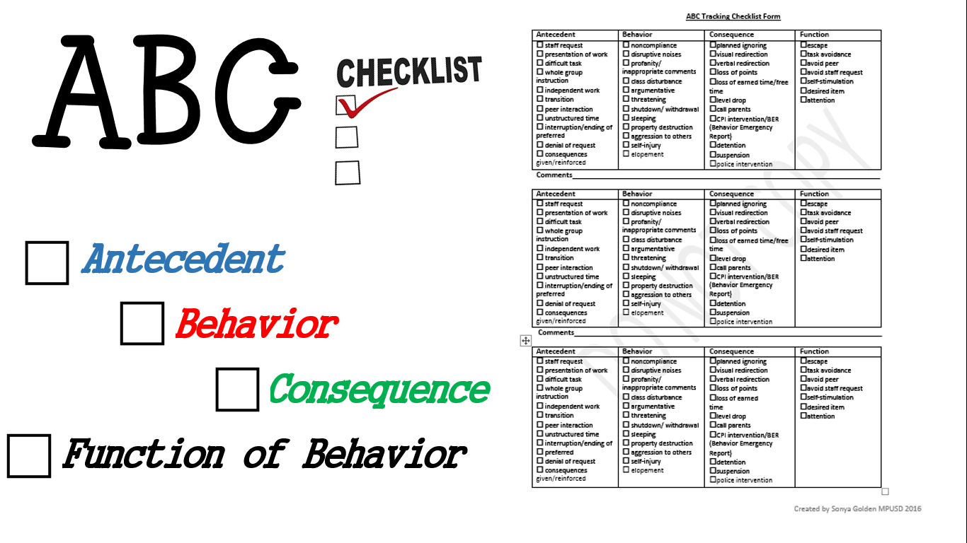 ABC Checklist Form This is a quick and easy data sheet