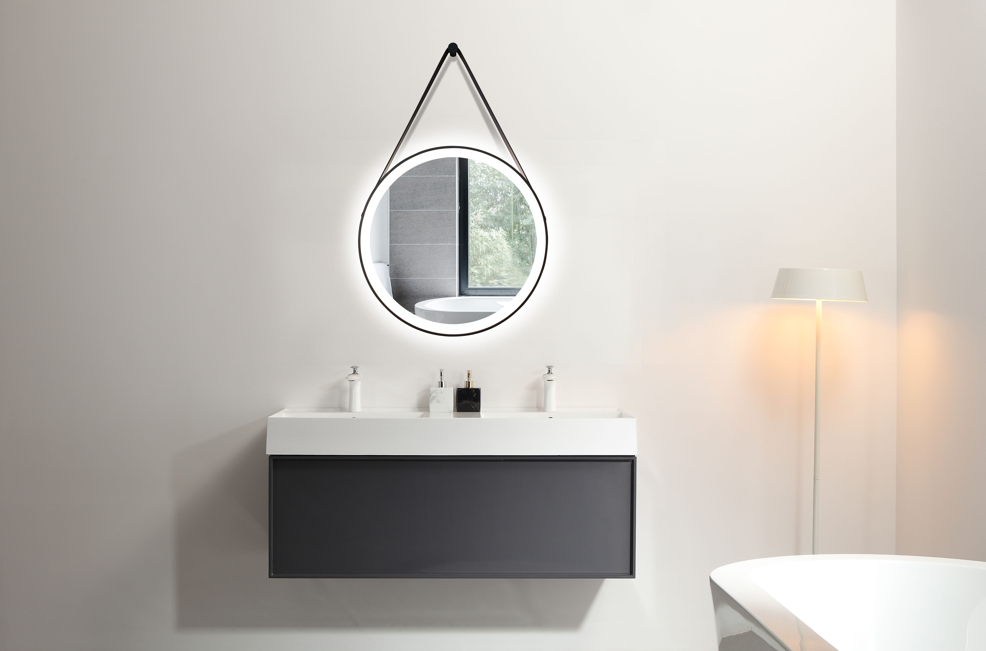 Talos Black Light Led Rundspiegel Badezimmer Led Spiegel Lichtspiegel