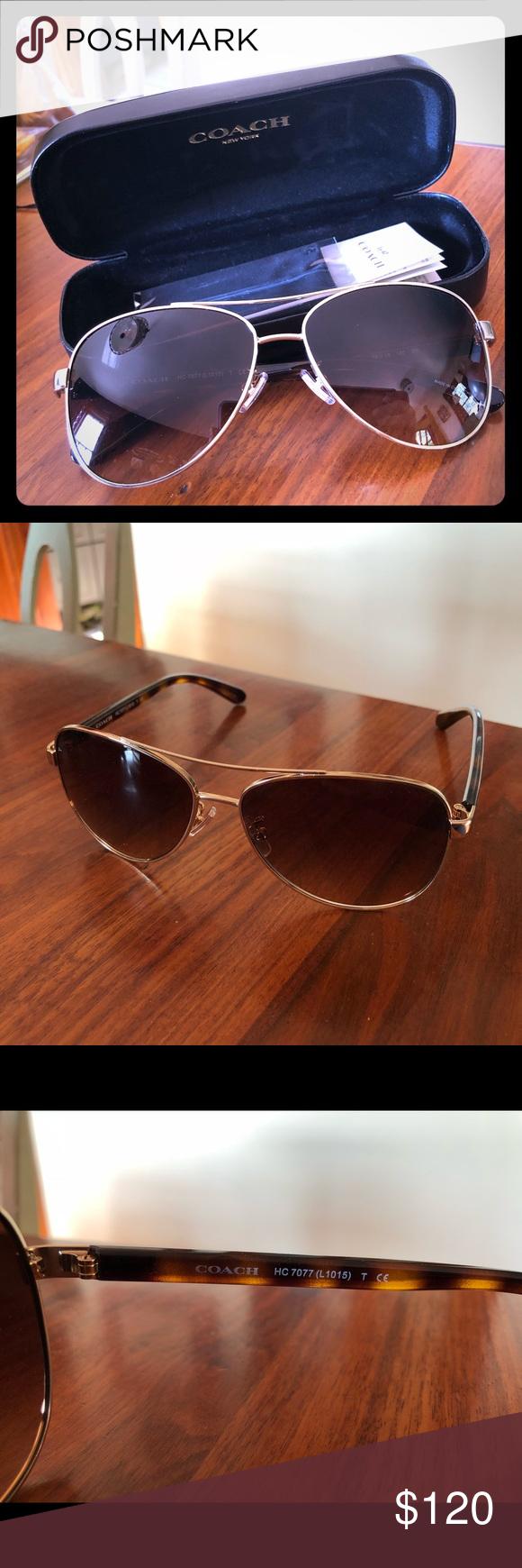 e1fe019e44 NEW Coach Gold Tortoise Aviator Sunglasses Brand New