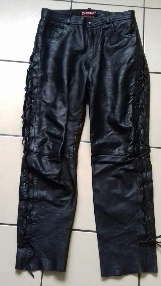 fast delivery good looking high fashion Details about Skintan black leather lace up sides trousers ...