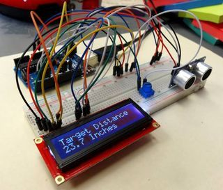Arduino Ultrasonic Sensor Lcd Distance Measurement Arduino Lcd Learn Robotics Arduino Projects