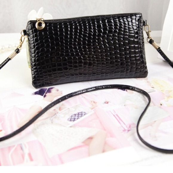 New black crossbody Never used crossbody or clutch with gold fixtures Bags Crossbody Bags