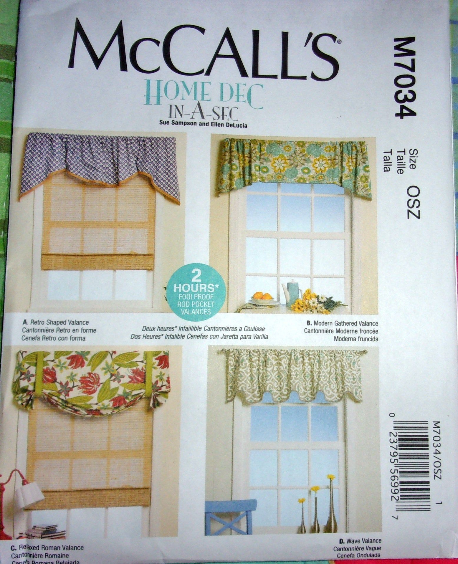 Mccall S 7034 Window Valances Easy Home Dec In A Sec Sewing Pattern 2 Hr Foolproof Rod Pocket Toppers Curtain Panels Fits 28 80 W Uncut Ff In 2020 Valance Patterns Valance Home Decor