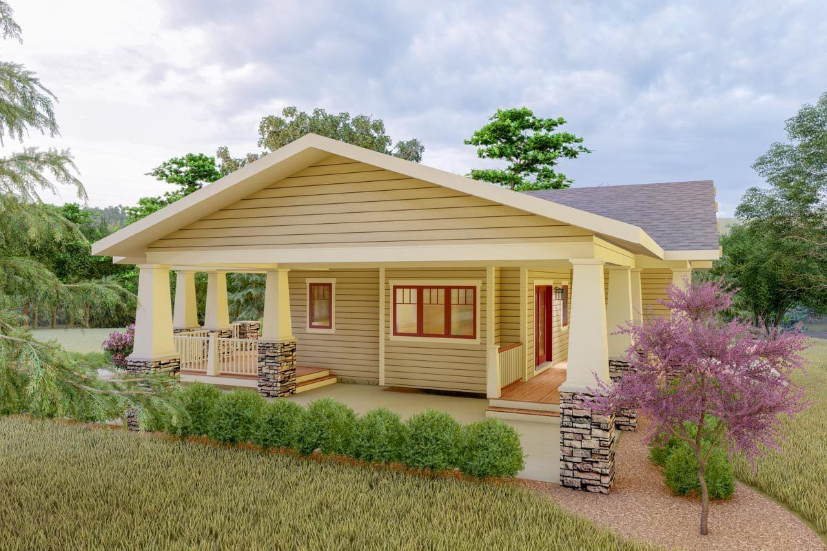 Plan 18300be Delightful 2 Bed Space Saving Bungalow House Plan In 2020 Bungalow House Plans Porch House Plans House Plans