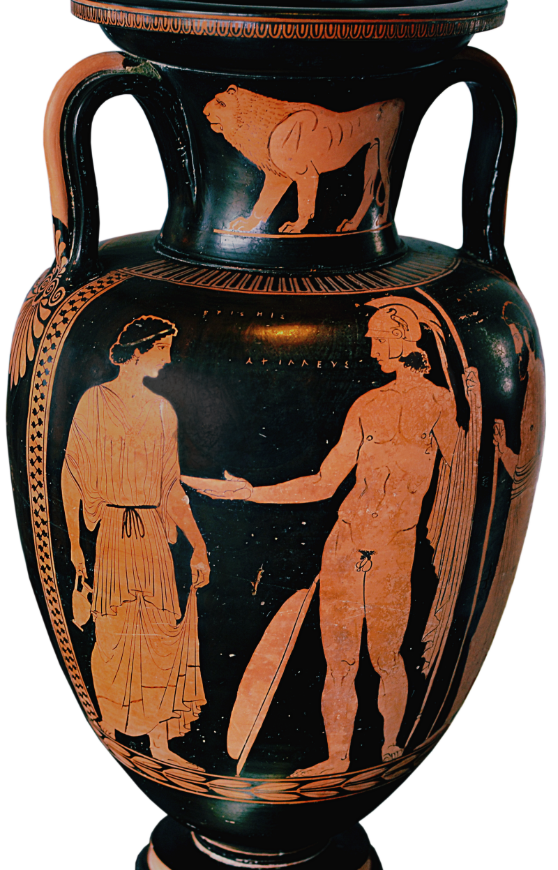 Apulian Red Figure Amphora Ca 430 410 Bce Depicting Achilles And Briseis Source Wikimedia Commons In 2020 Ancient Greek Art Greek Art Ancient Art