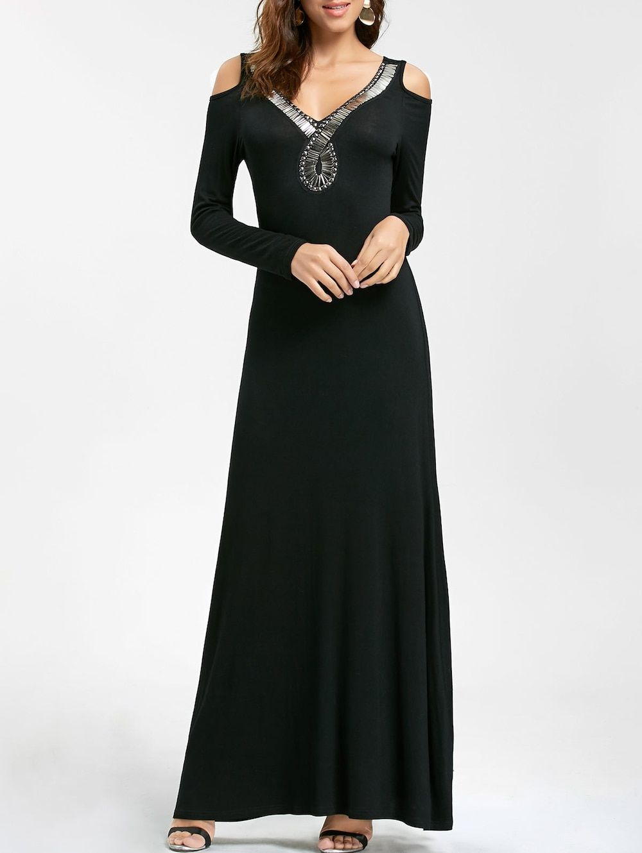 Long sleeve beaded maxi cold shoulder dress