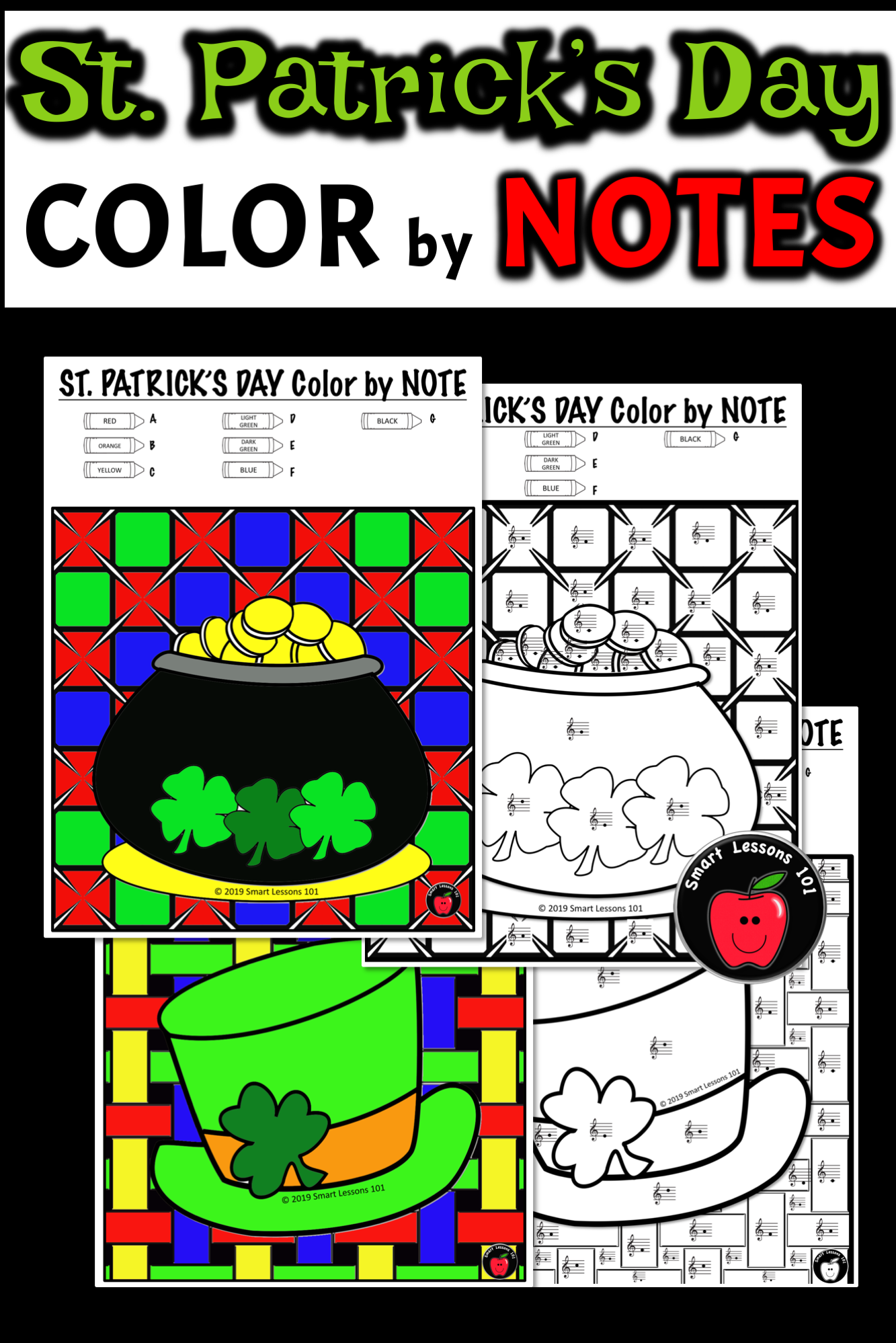 St Patricks Day Music Color By Code Color By Note Color