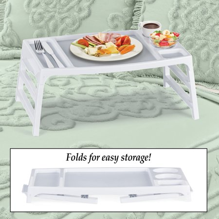 Foldable Lap or Bed or Couch Tray with Cup Holders, Sturdy