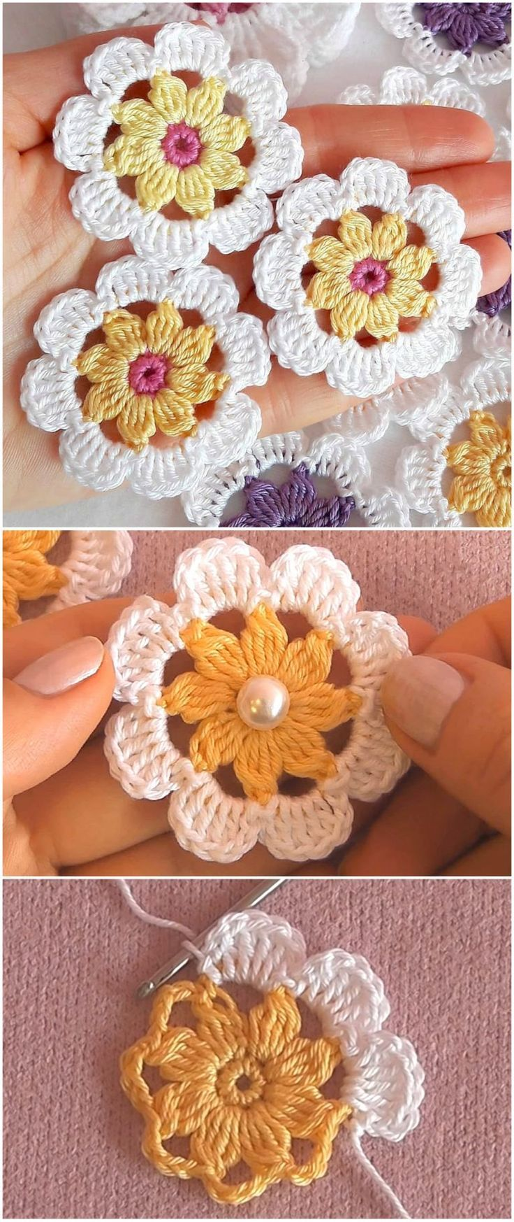 Häkelblumenmuster für Anfänger – Yarnandhooks - Fitness #crochetflowerpatterns