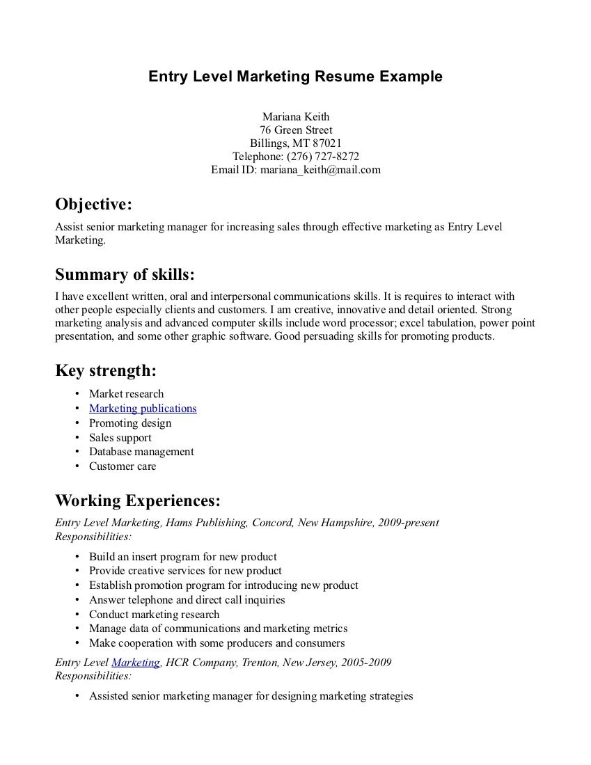 EntryLevel Marketing Resume Samples Entry Level