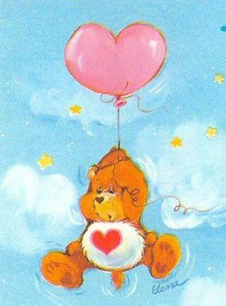 Care Bears Tenderheart Bear Floating On A Balloon Care Bear Tattoos Care Bears Vintage Care Bear