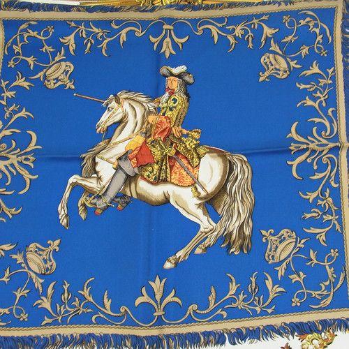Authentic Hermes Logos Big Scarf Handkerchief Blue White Silk
