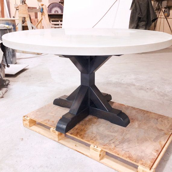 Concrete Dining Table Etsy In 2020 Concrete Dining Table Dining Table Round Dining Room Table