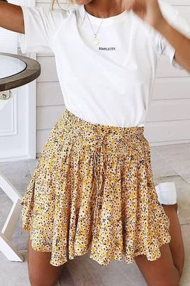369e605d6a floral Frill Trim skirt front lace up floral skirts drawstring flounce mini  skirt high waisted short
