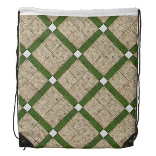 Ceramic Concrete Diagonal Tiles Mediterranean Drawstring Bag