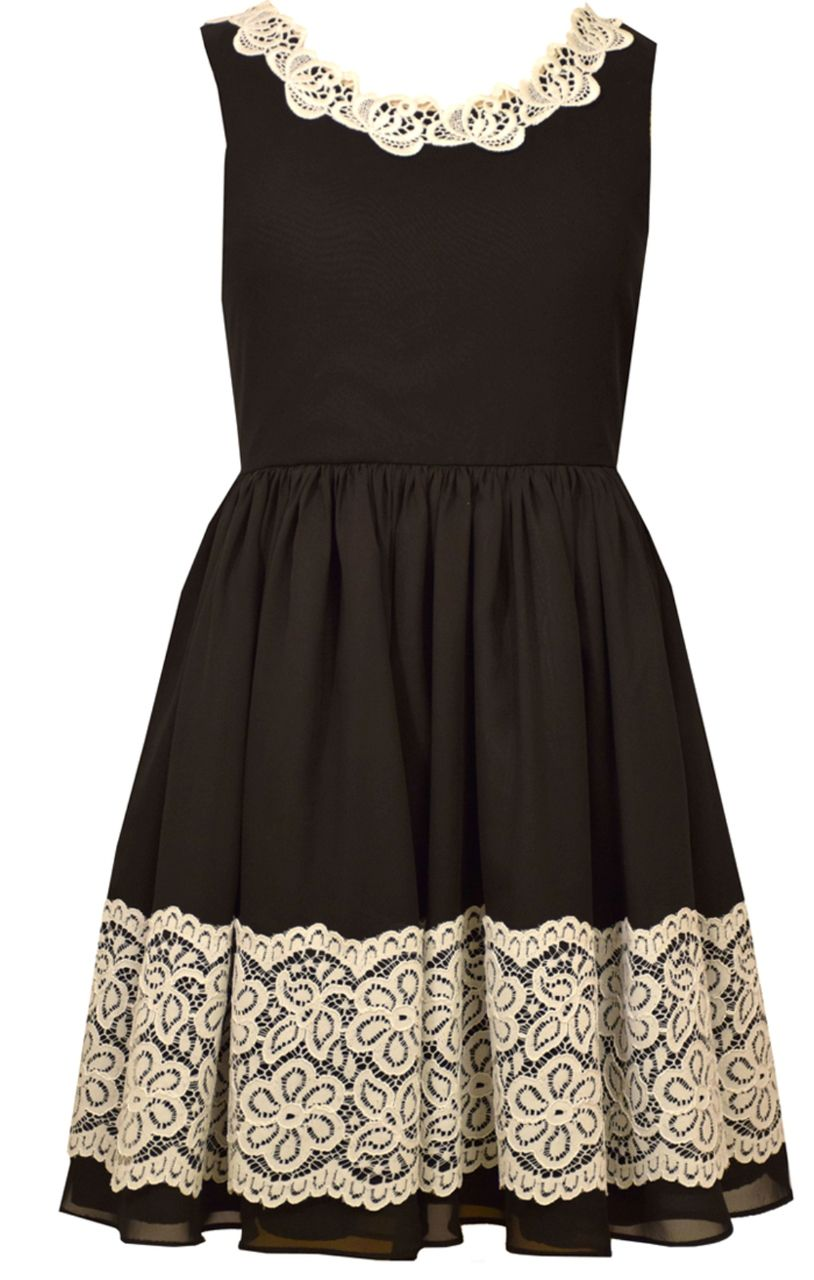 Bonnie Jean Special Occasion Big Girls Knit To Lace Black Dress 7