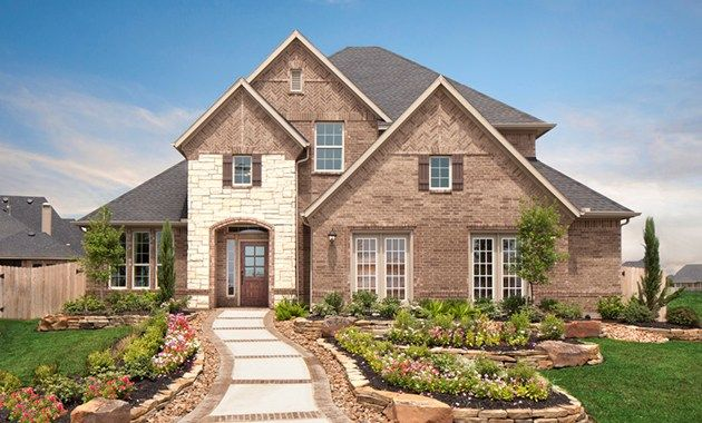 A Landscaped Walk Echoes The Brick And Stone Of This Timeless New Home Built By Plantation Homes In Grand Mission Estates Community Richmond Tx