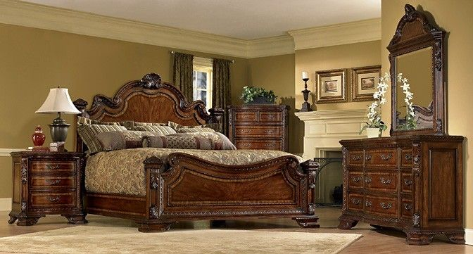 A R T Old World Estate Bedroom Set In Warm Pomegranate By 1stopbedrooms Furniture Sets