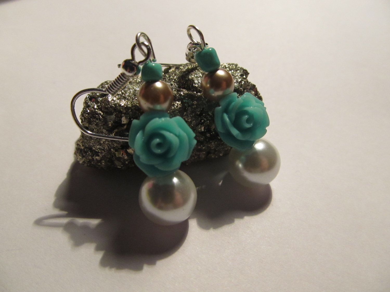 Teal and gold dangles Rose golden teal rose earrings pearls white (2.99 USD) by RandomWishes32