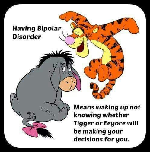 """Image result for """"Having bipolar disorder means waking up not knowing whether Tigger or Eeyore will be making your decisions for you!"""""""