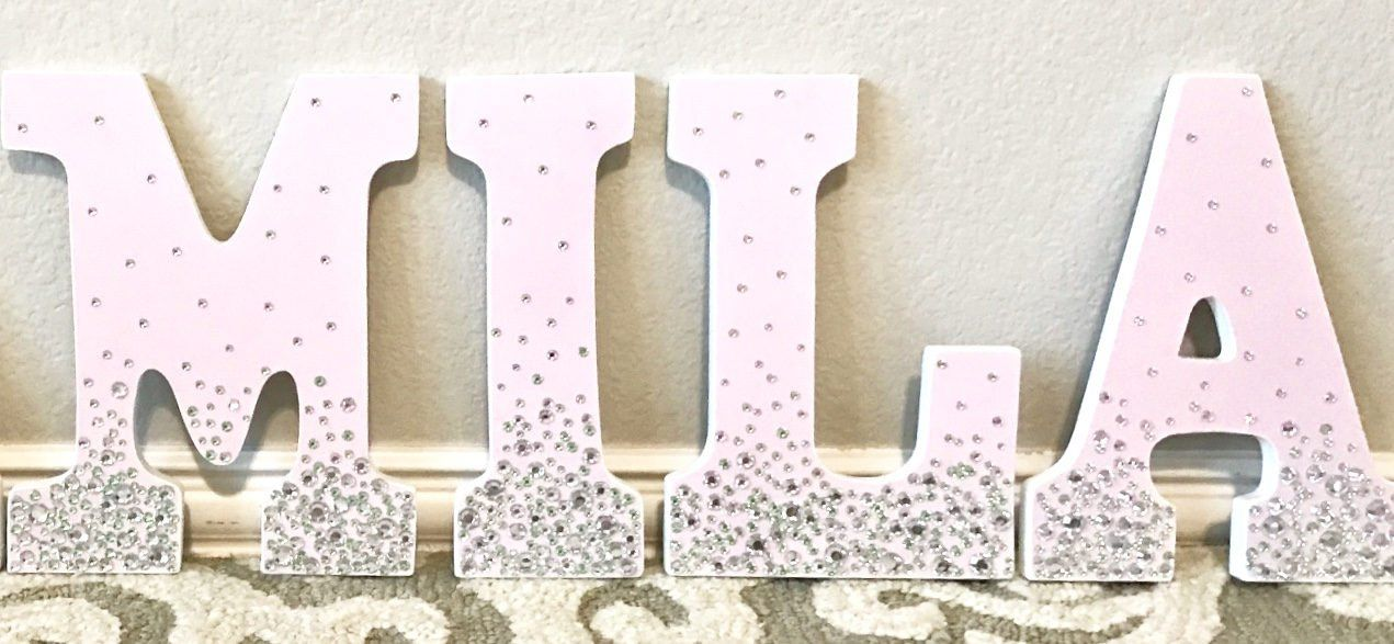 Nursery Letters Rhinestone Letters Wall Hanging Letters Wooden