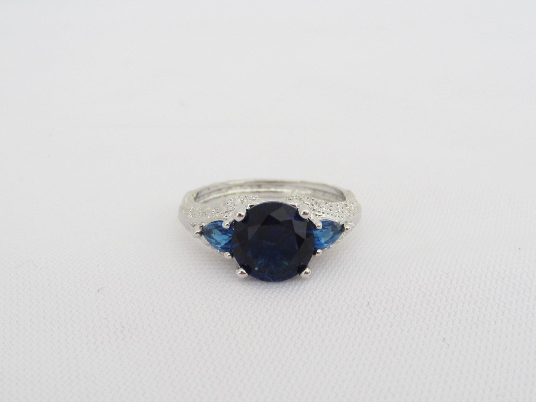 Vintage Jewelry Silver Tone Blue Sapphire & Blue Topaz Ring Size 6 by wandajewelry2013 on Etsy