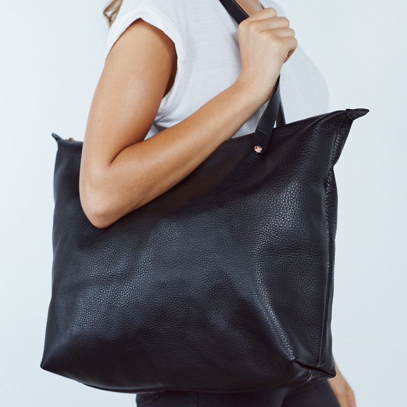 Black Nappa Bespoke Zippered Tote Charlie Middleton Genuine Leather Accessories Handmade In Sydney Aust Zippered Tote Zipper Tote Bag Leather Accessories