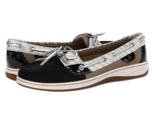 Sperry Topsider Angelfish black silver zebra women's boat shoes 9207002 BNIB
