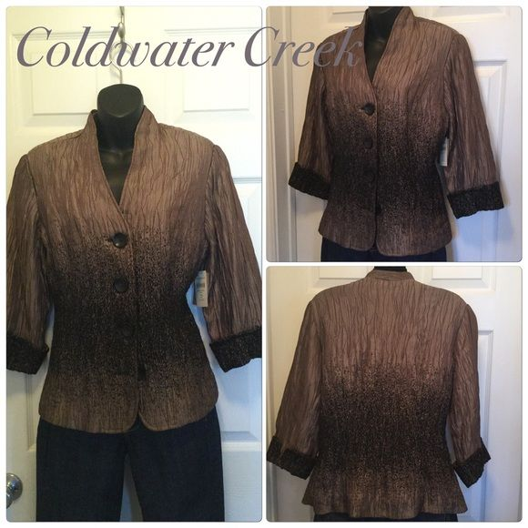 Stunning jacket Simply beautiful. Kringle material made of polyester, acrylic, viscose, and spandex. Light coco color runs into deep chocolate. Big button front. Stunning! Coldwater creek Jackets & Coats