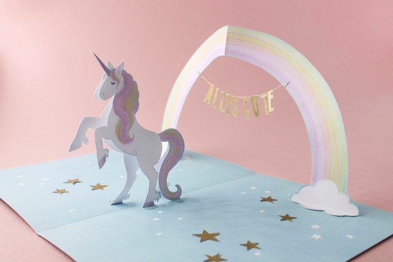 Pop Up Card Unicorn Faltmanufaktur Tina Kraus Unicorn Birthday Cards Unicorn Card Birthday Card Pop Up