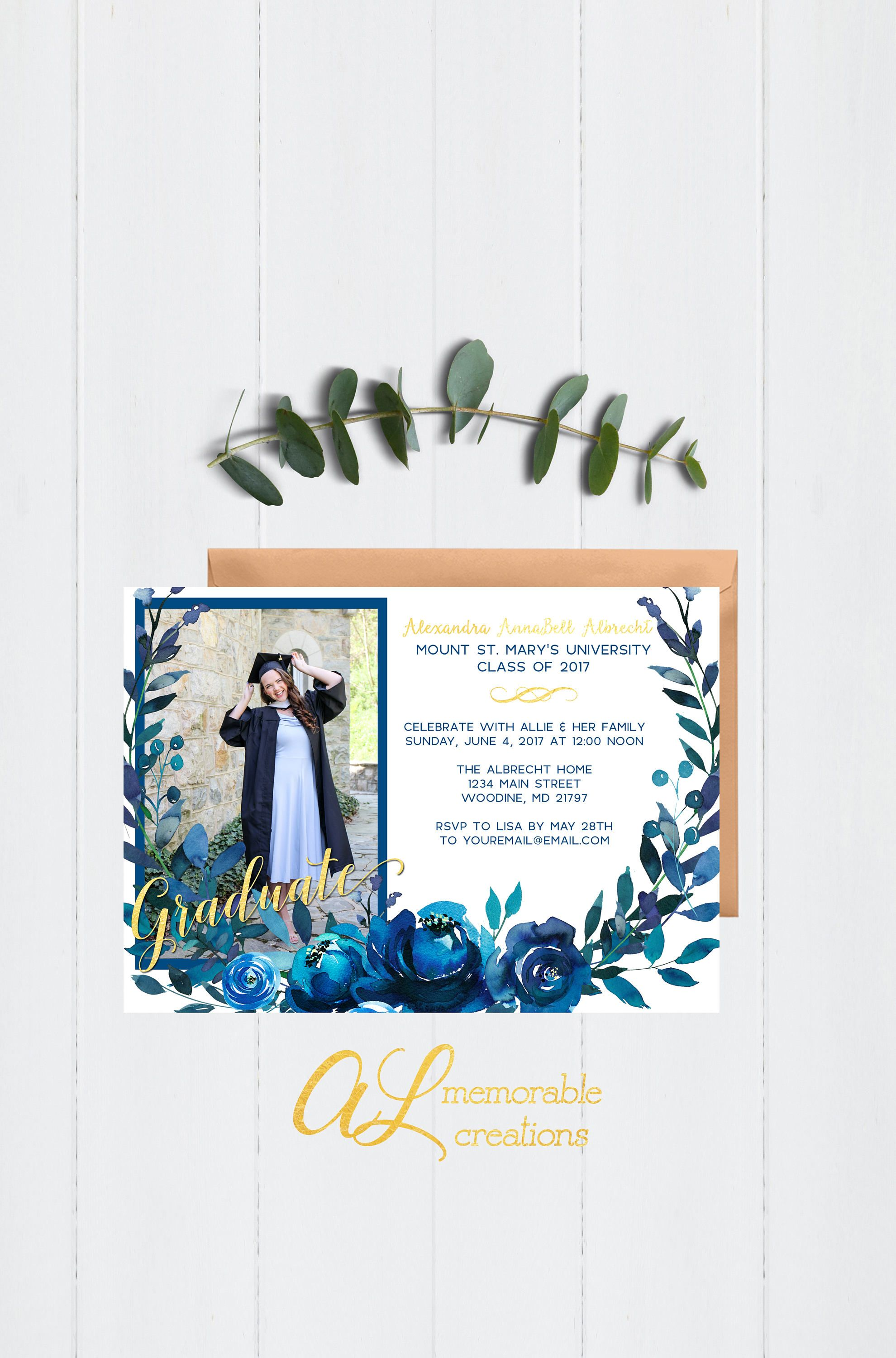 Picture High School College Graduation Annoucements Open House Party Invitation