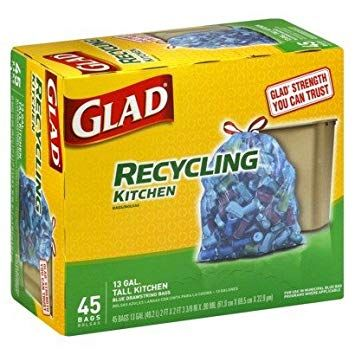 Kitchen Trash Bags Cabinets Remodel Glad Recycle Tall Clear Blue Drawstring 45 Count Pack Of 4 Review