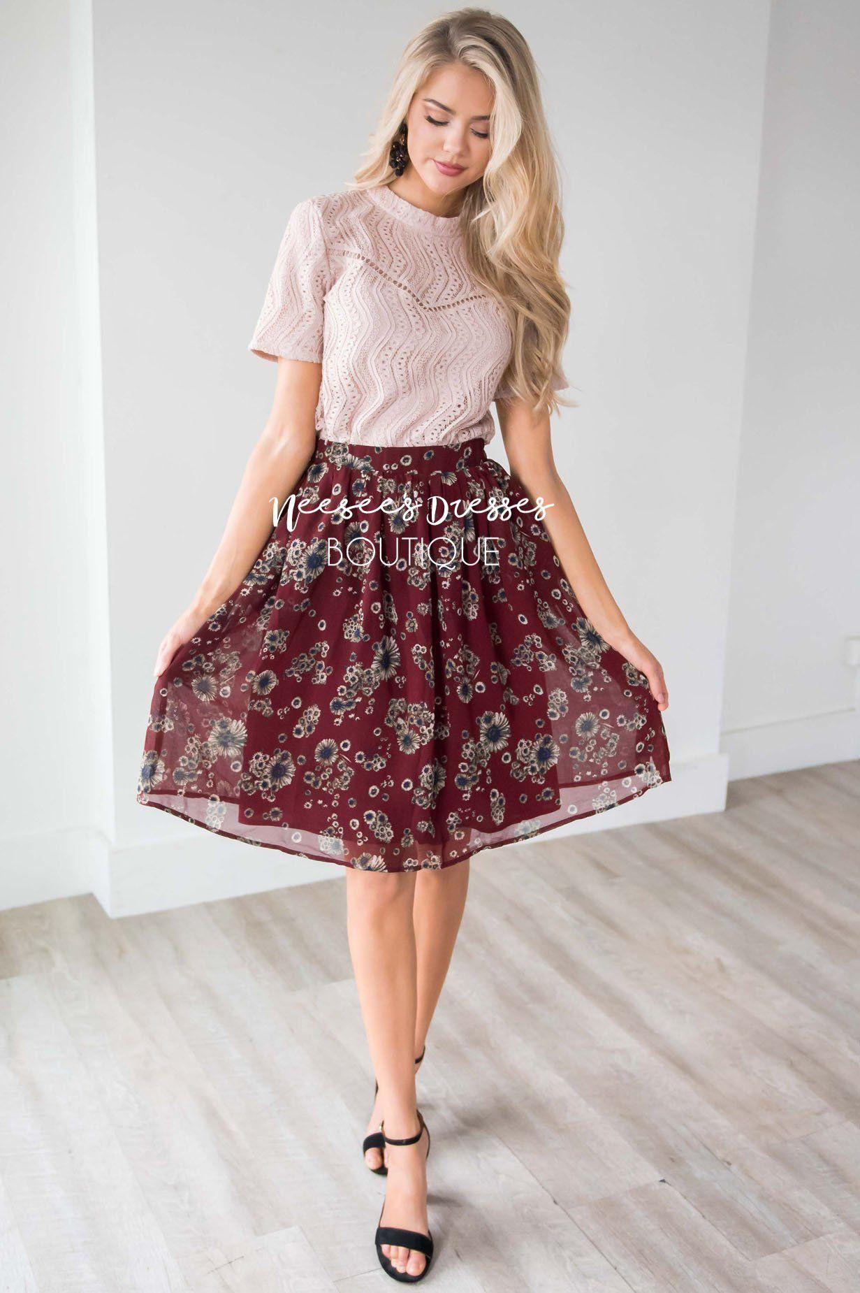 923eddb99f367c Burgundy Cluster Floral Chiffon Skirt for Church | Modest Bridesmaids  Dresses | Modest Dresses and Skirts for Church - Neesee's Dresses