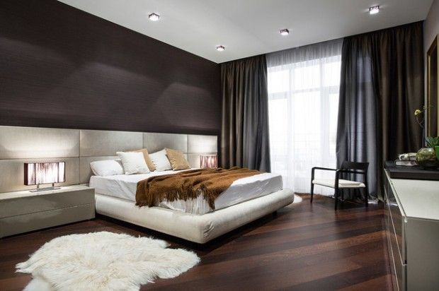 Modern master bedroom design ideas with small carpet brown for Master bedroom interior design images