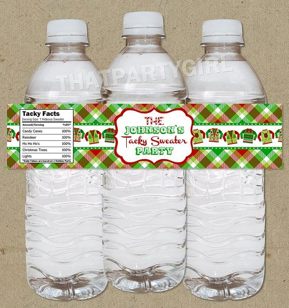 e04bcec1dc41 Ugly Sweater Holiday Party Water Bottle Labels