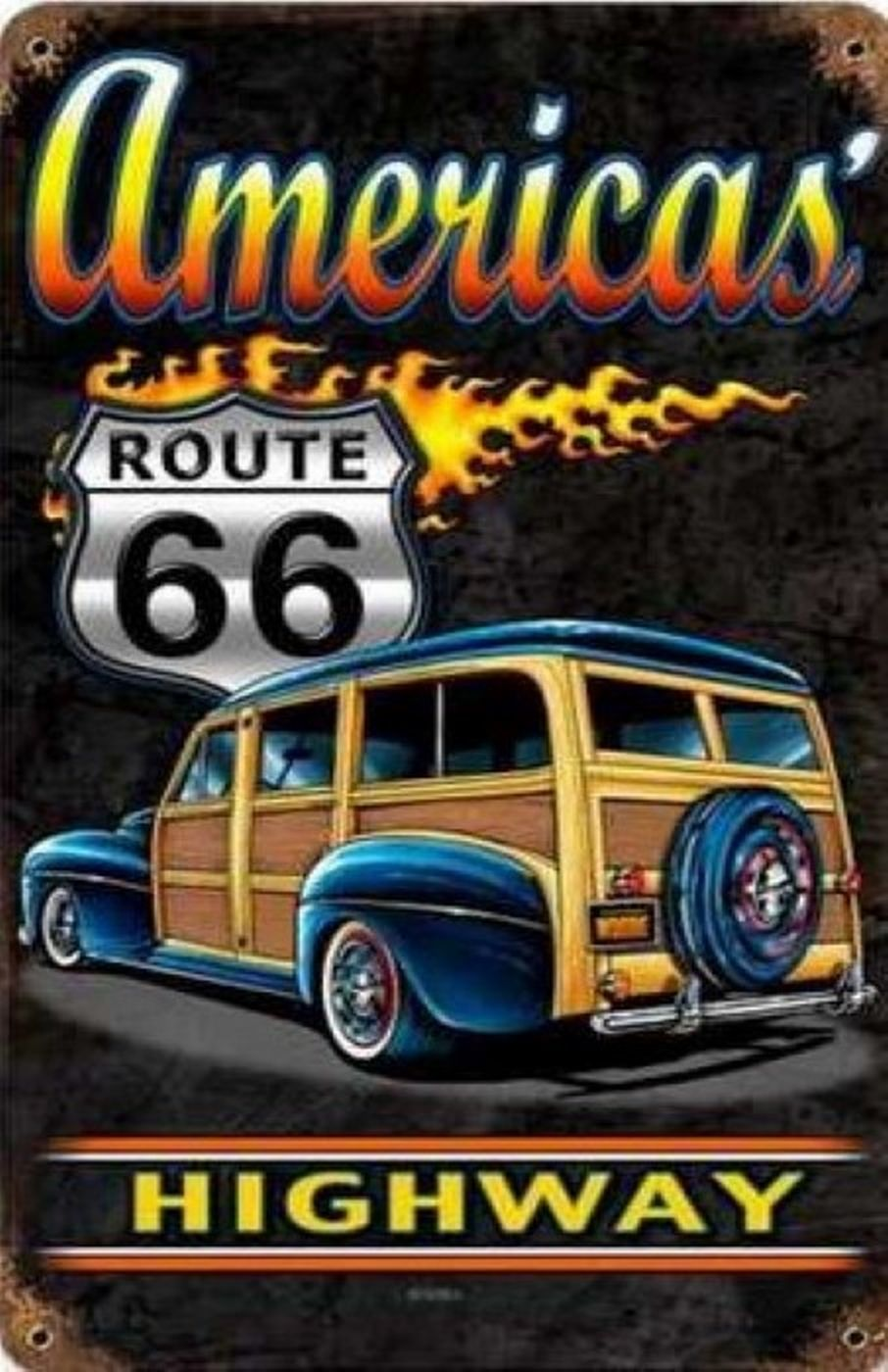 America/'s Highway Pin-Up Metal Sign