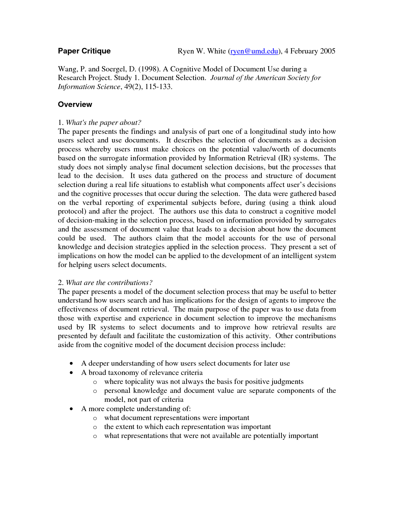 Examples Of Nursing Research Critique Paper Education