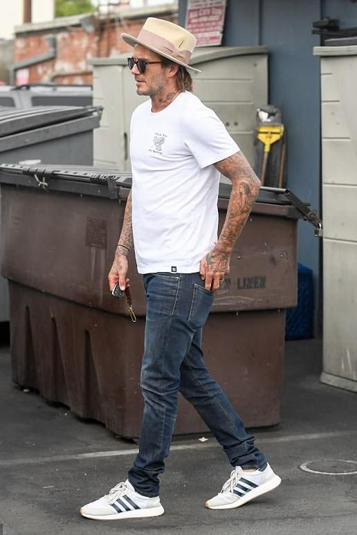16cc4ad1a David Beckham wearing Adidas Originals Iniki Runner Shoes in Color Running  White   Collegiate Navy and Adidas Originals For Nothing T-Shirt