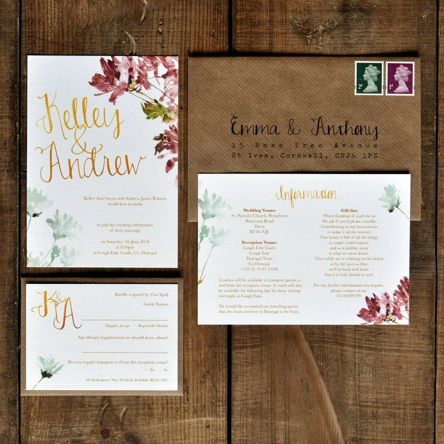 Watercolour Floral And Calligraphy Wedding Invitation Rsvp