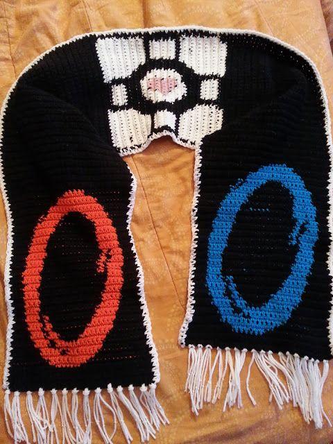 Crochet from J: Portal & Companion Cube Scarf Pattern   Crochet ...