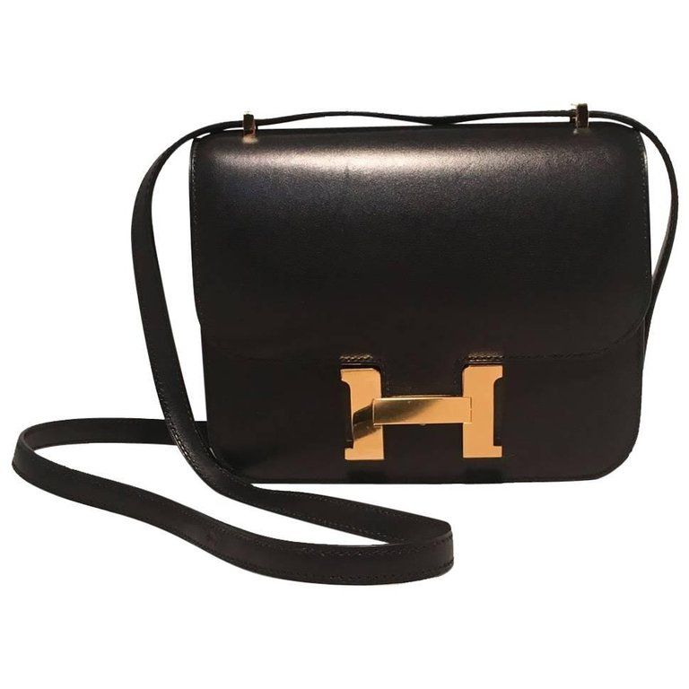 0728ac1001 ... official new hermes 18cm mini black box calf constance shoulder bag  99a53 aee92