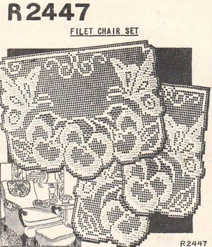 Butterflies pansies vintage filet crochet chair back set pattern butterflies pansies vintage filet crochet chair back set pattern dt1010fo