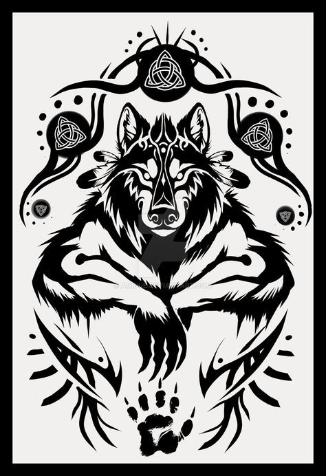 shamanic werewolf tattoo design by. Black Bedroom Furniture Sets. Home Design Ideas